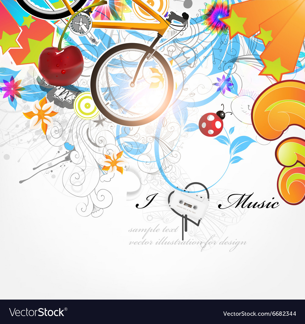 I love music sketch background vector