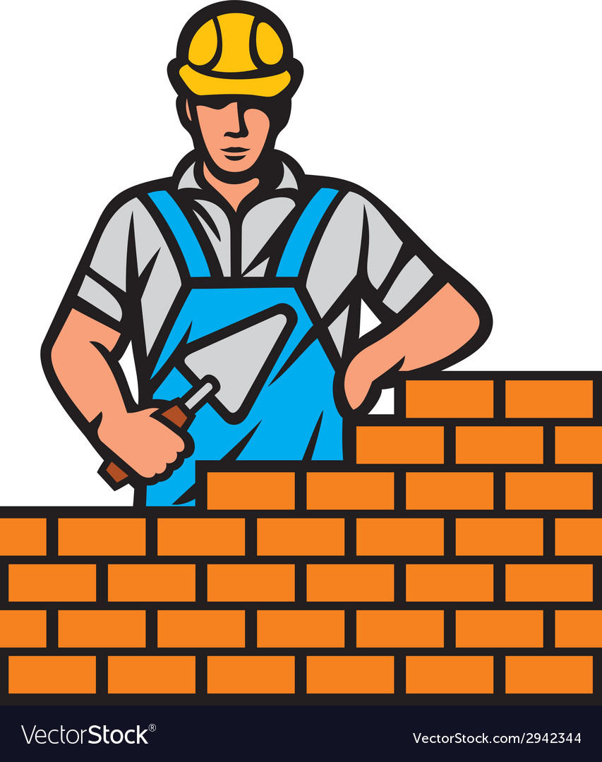 Mason with brick and trowel in hand vector