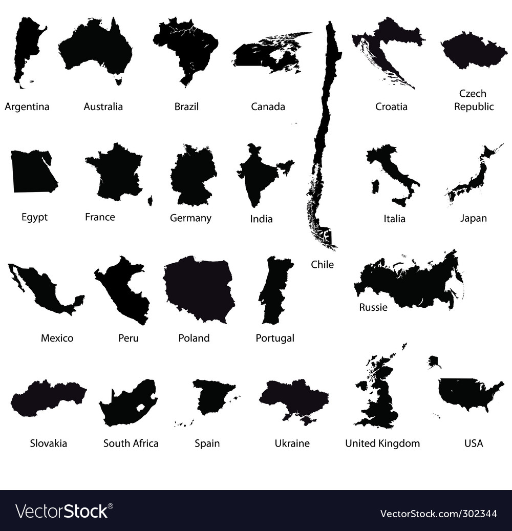 Set of detailed maps vector