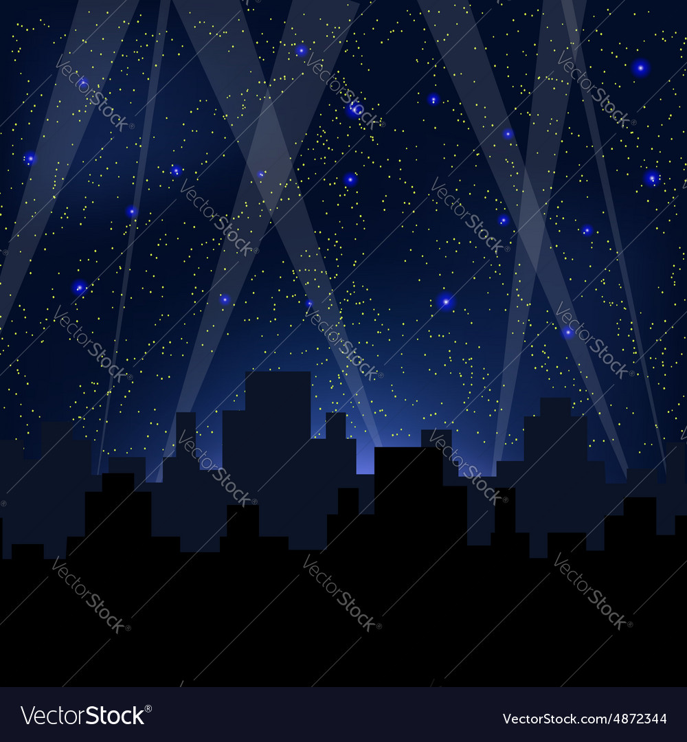 Starry night blue sky vector