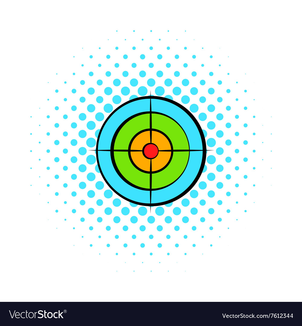 Target with paintball ball comics icon vector