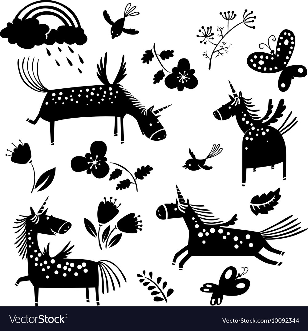 Unicorn silhouettes and flowers vector
