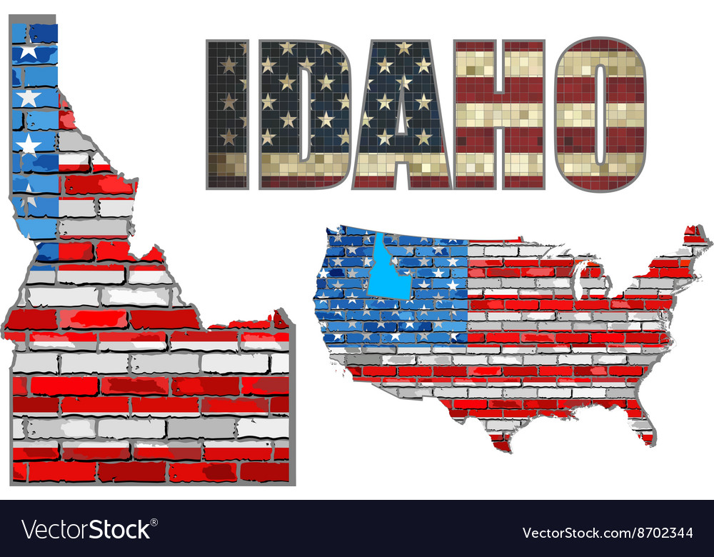 Usa state of idaho on a brick wall vector