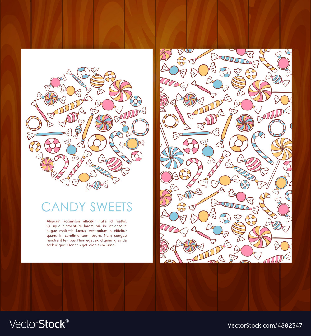 Business set template with hand drawn candy sweets vector