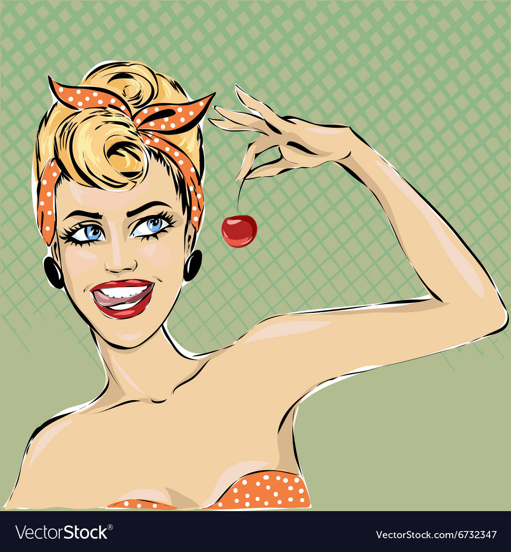Pop art woman pinup girl speech vector