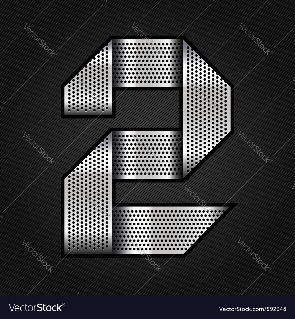 Number metal chrome ribbon  2  two vector