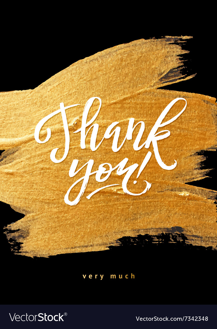 Shine gold foil thank you card calligraphy vector
