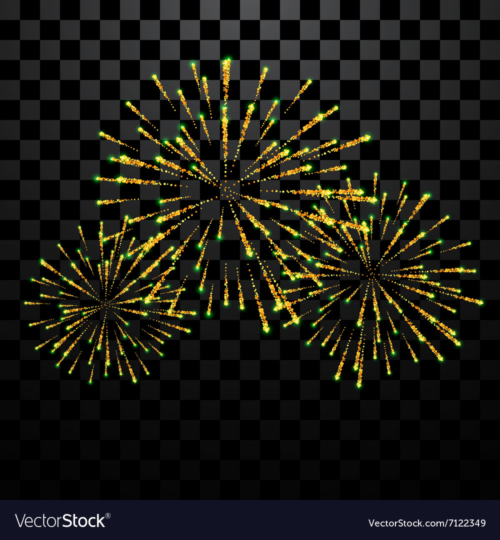 Golden holiday firework vector
