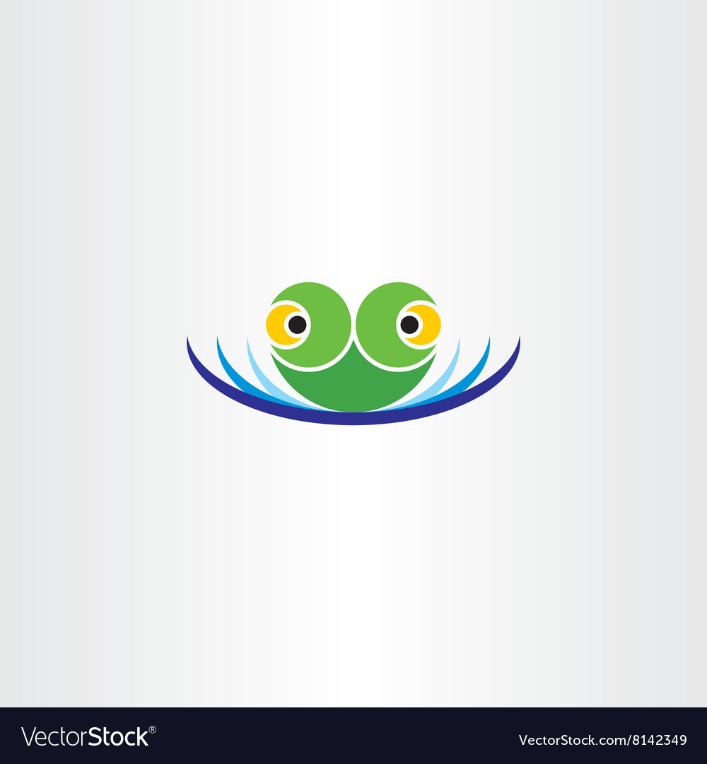 Green frog head in water pond icon logo vector