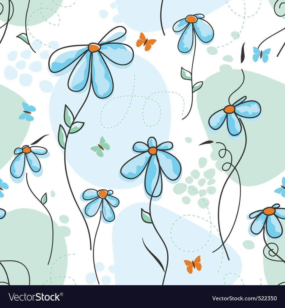 Cute nature seamless pattern vector