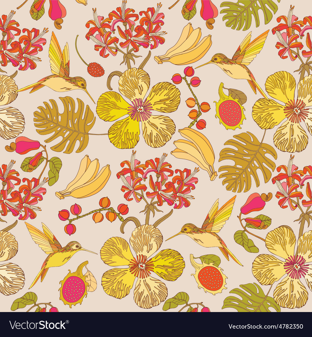 Seamless tropical flowers with bananas and birds vector