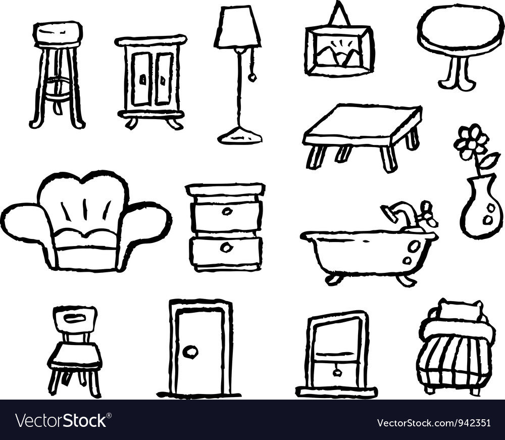 Doodle series furniture vector