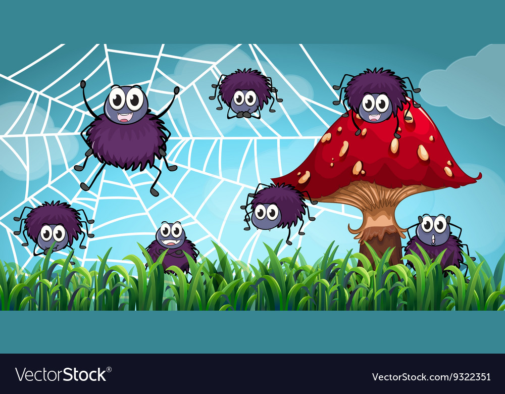 Spiders climbing on the spiderweb vector