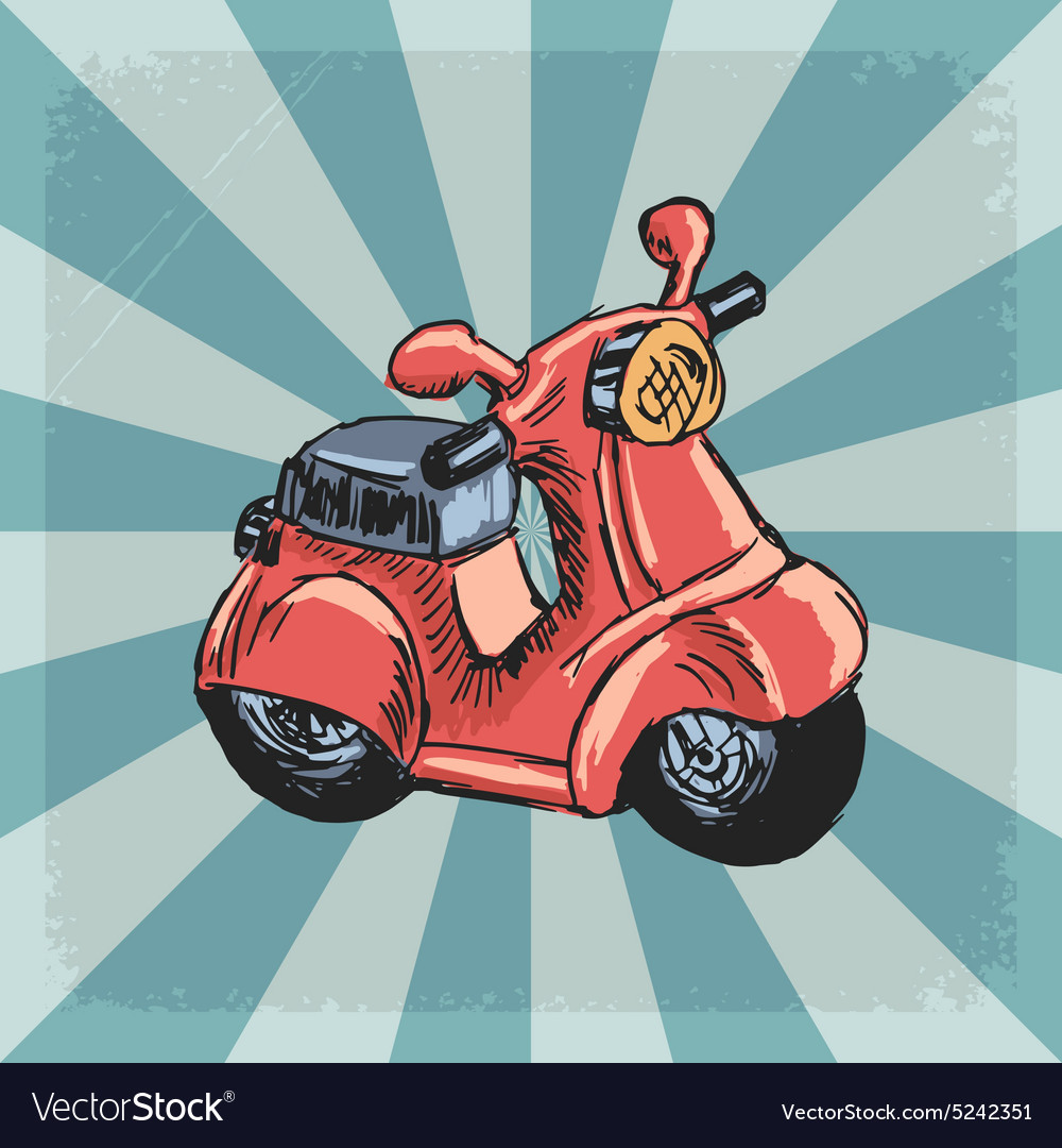 Vintage grunge background with scooter vector
