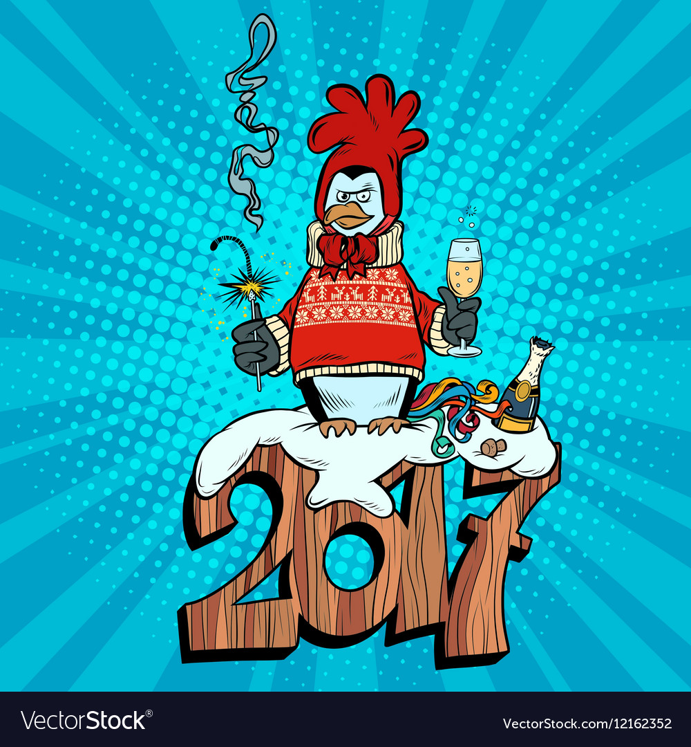 Penguin dressed as a rooster new year 2017 vector
