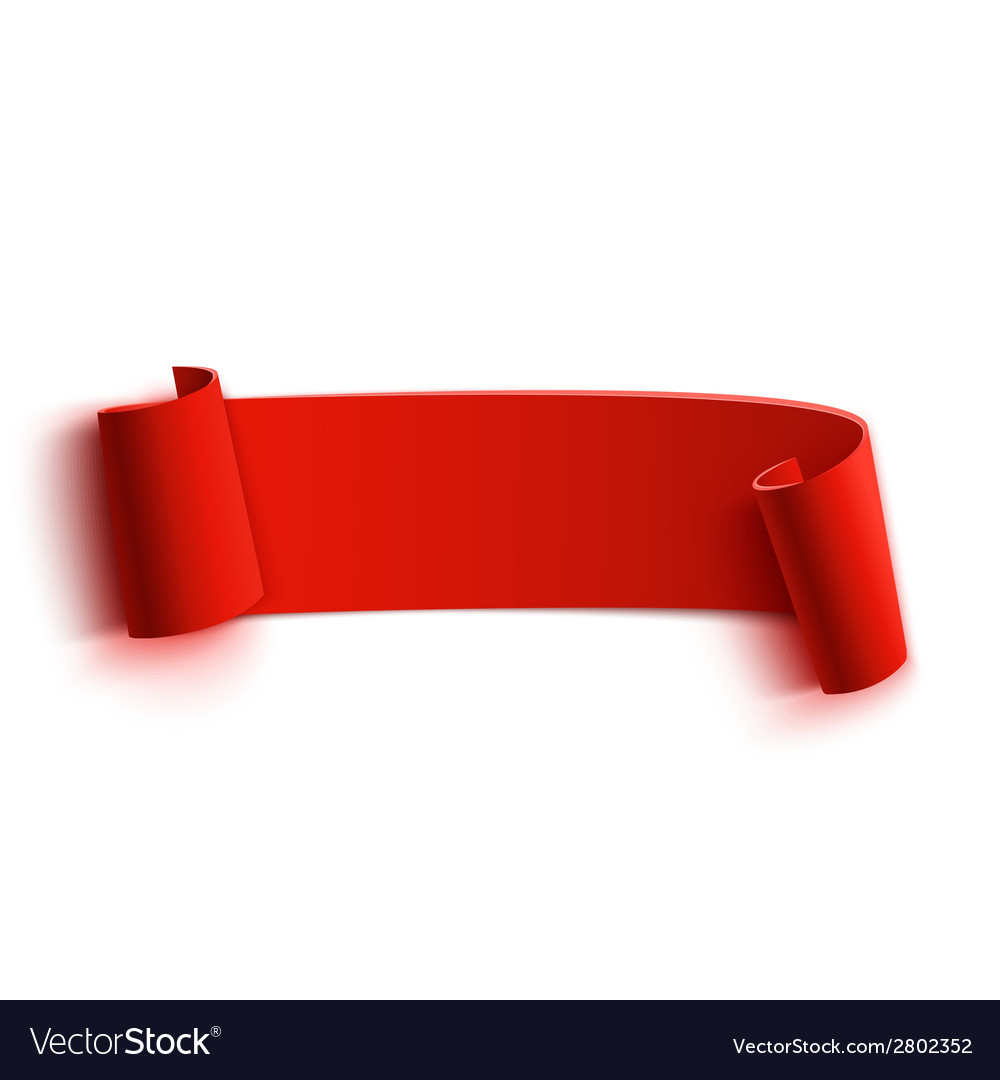 Realistic detailed curved red paper banner ribbon vector