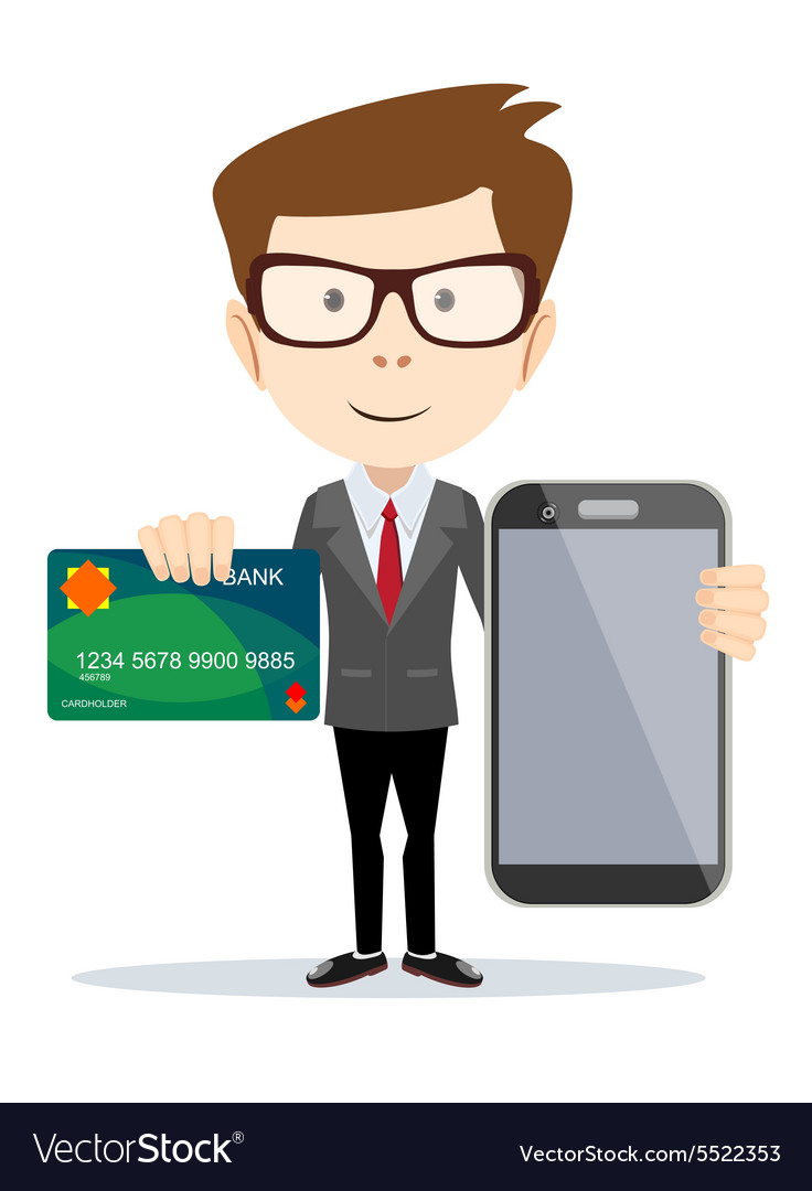 Man paying with credit card on phone vector
