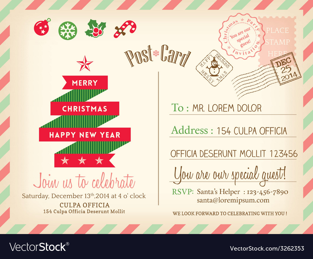 Vintage merry christmas postcard background vector