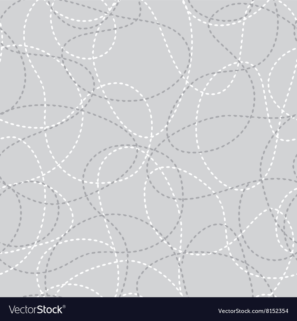 Stitched curves grey seamless pattern vector