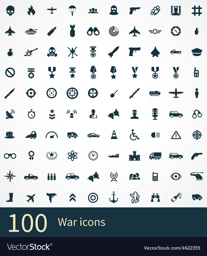 100 war icons set vector