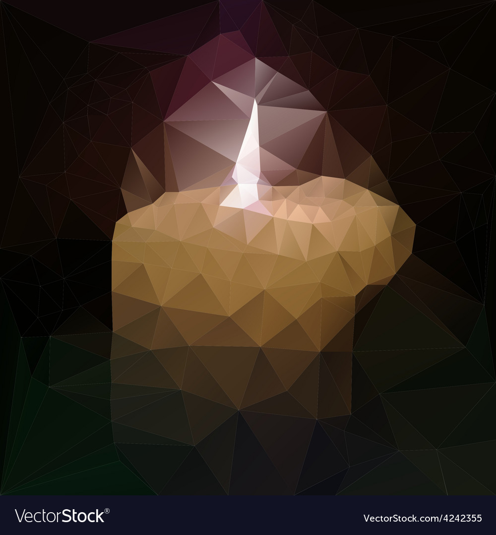 Polygonal mosaic of burning candle vector