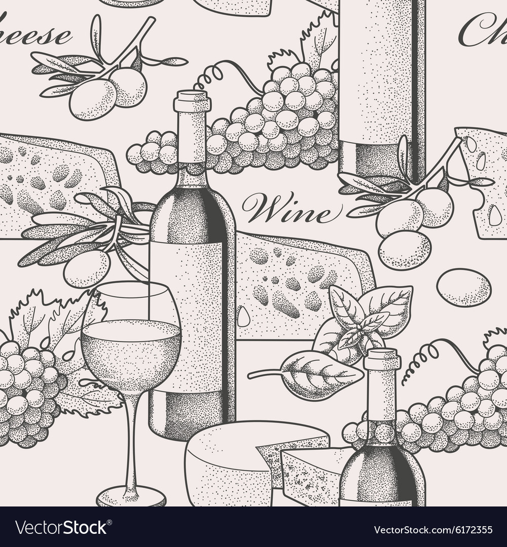 Seamless wine and cheese vector