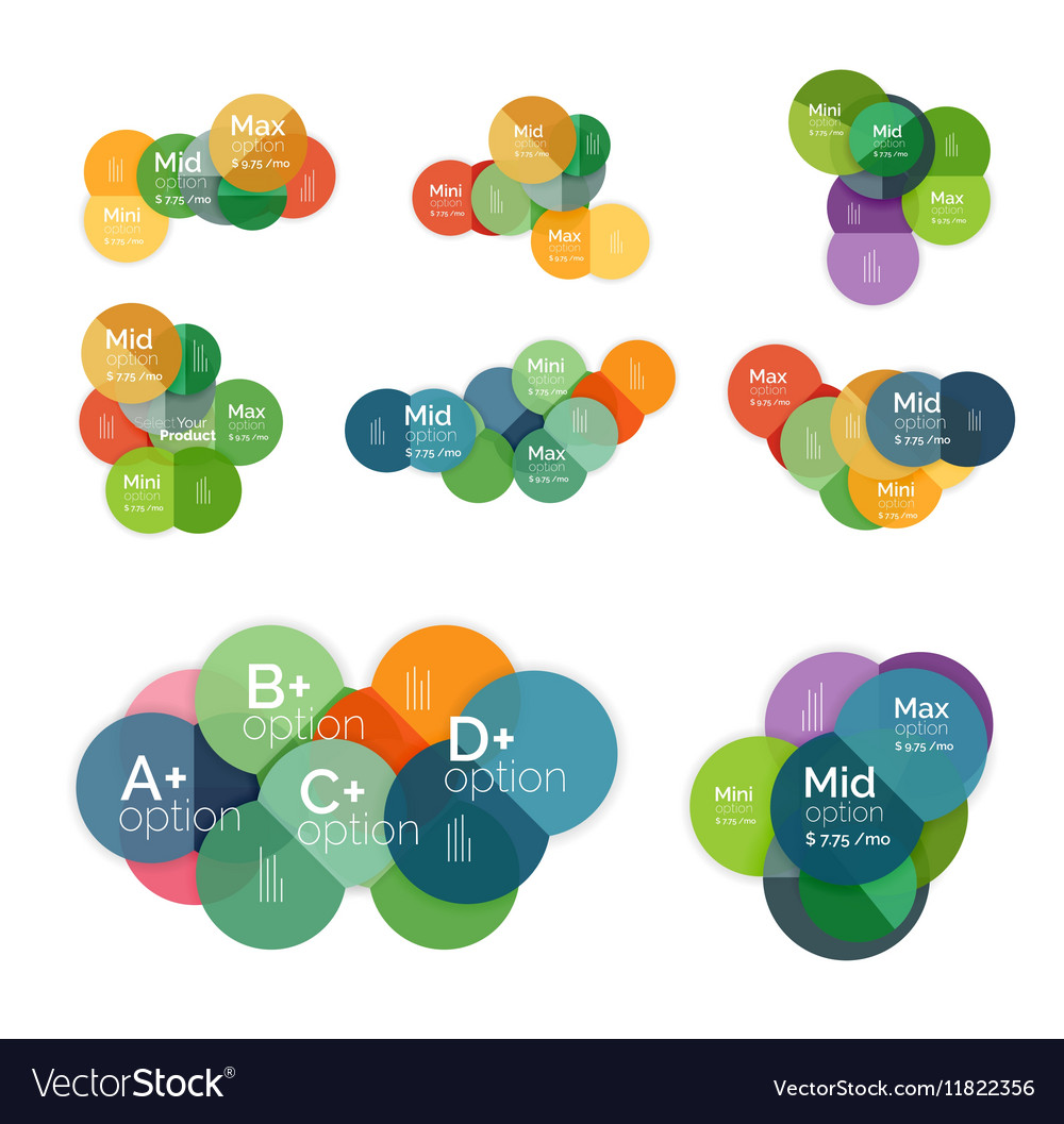 Circle business option diagrams vector