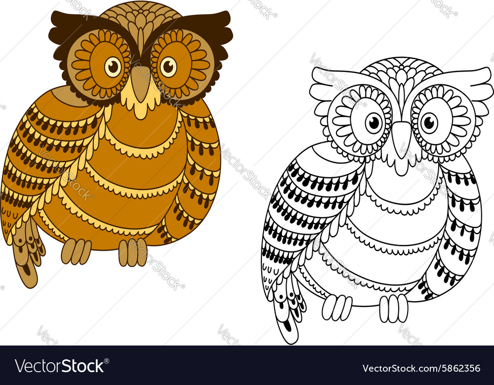 Colorful and outline doodle owl vector