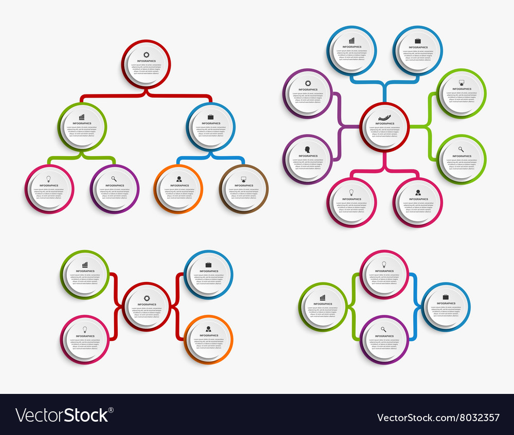 Collection infographic design organization chart vector