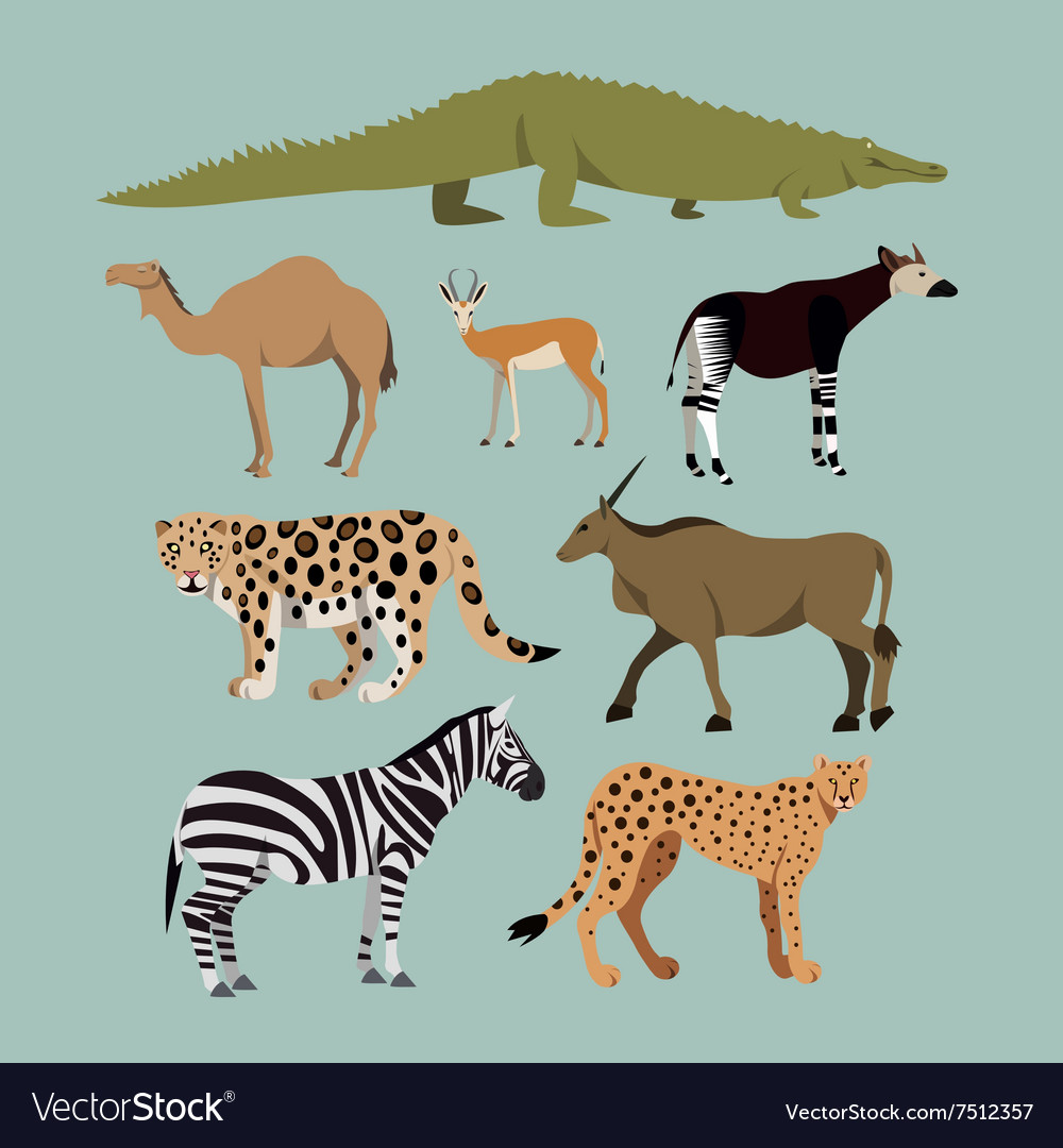 Set of different african animals animals vector