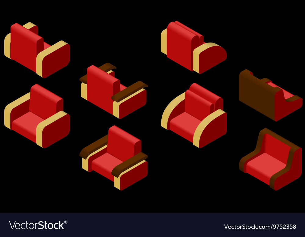 Armchair black isometric vector
