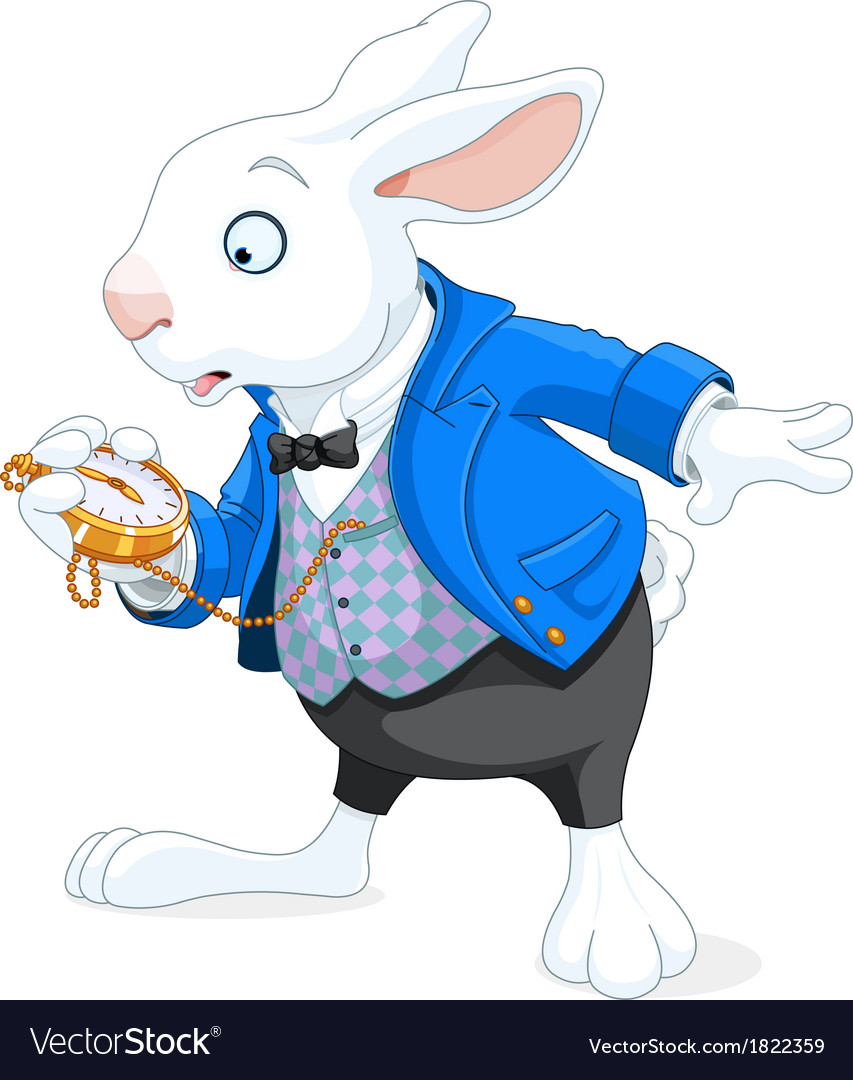 White rabbit with pocket watch vector