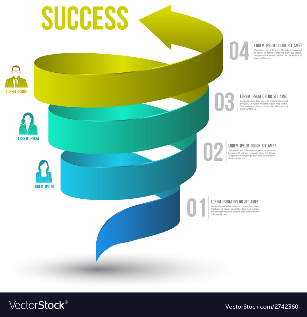 Arrow twist up to success number options vector