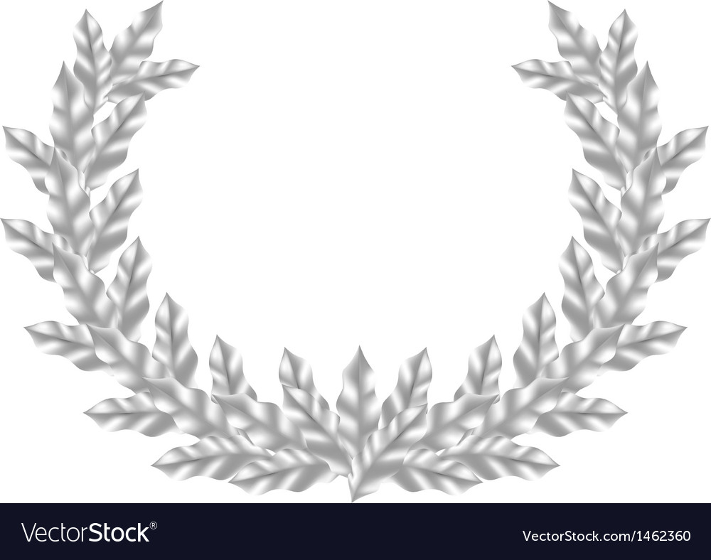 Realistic silver laurel wreath vector