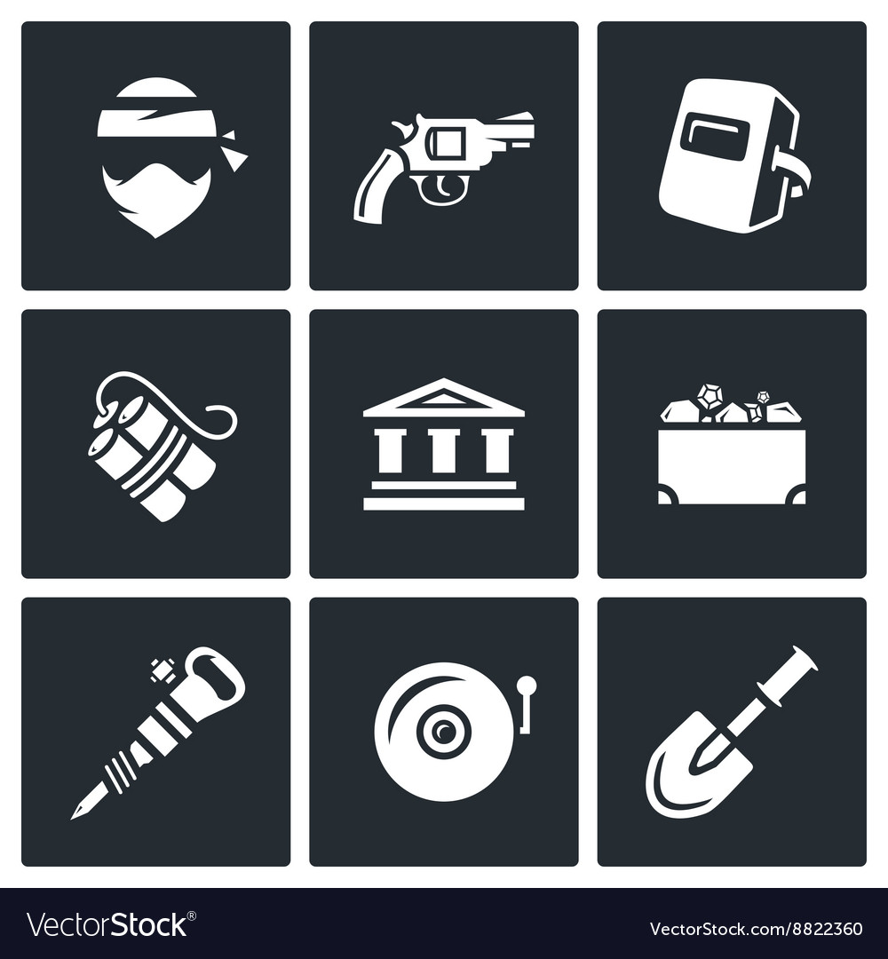 Set of bank robbery icons thief weapon vector
