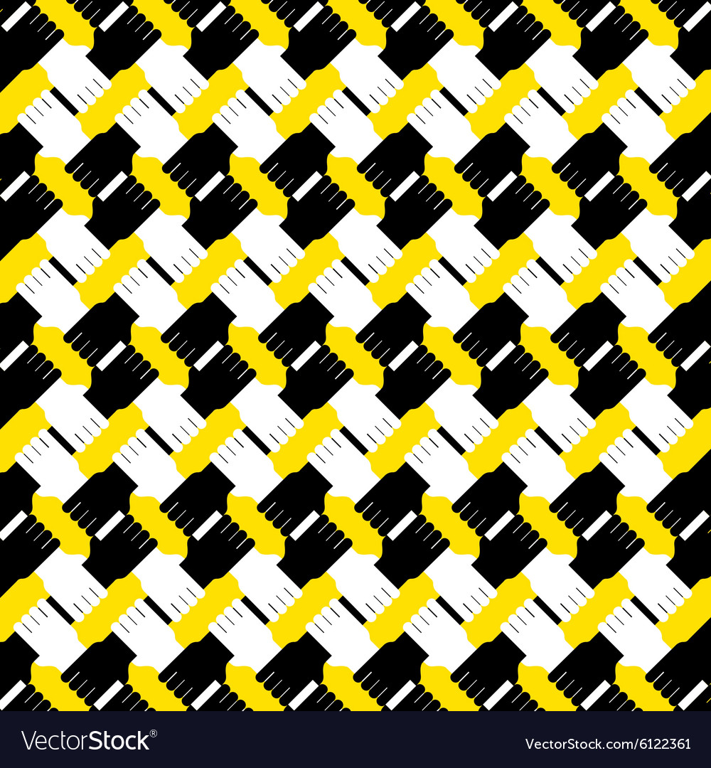 Connecting black and white hands pattern vector