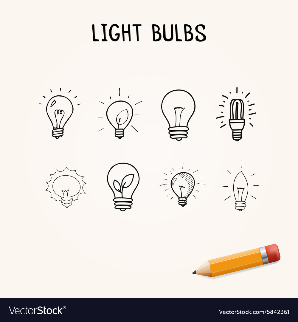 Set of handdrawn light bulbs doodle icons vector