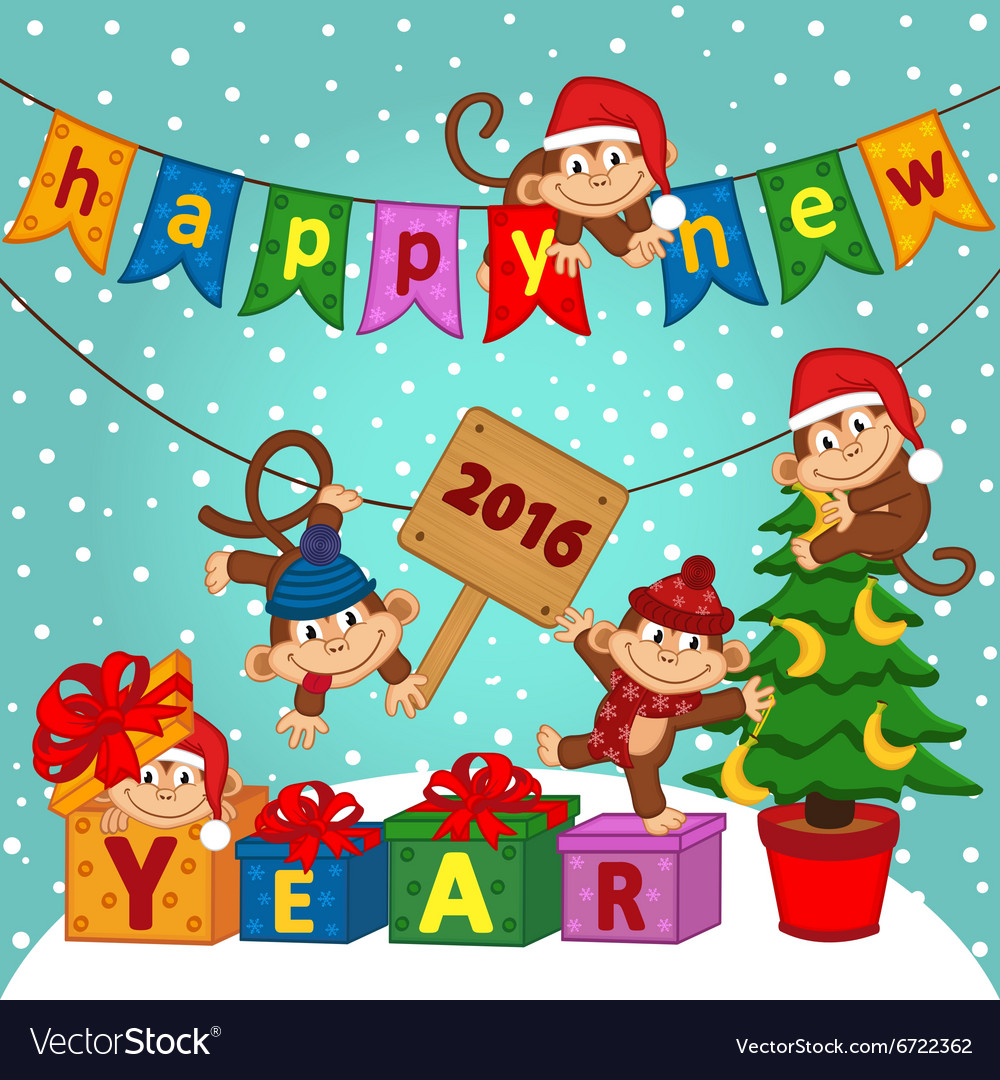 New year 2016 with monkeys vector
