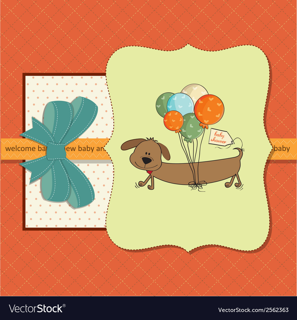 Baby shower card with long dog and balloons vector