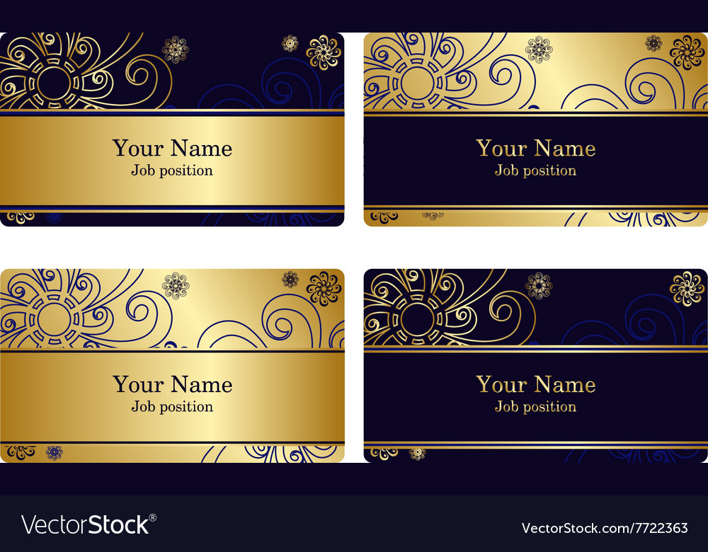 Gold business cards vector