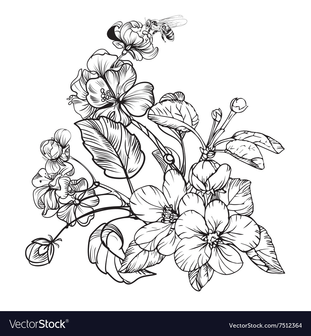 Vintage elegant flowers black and white vector
