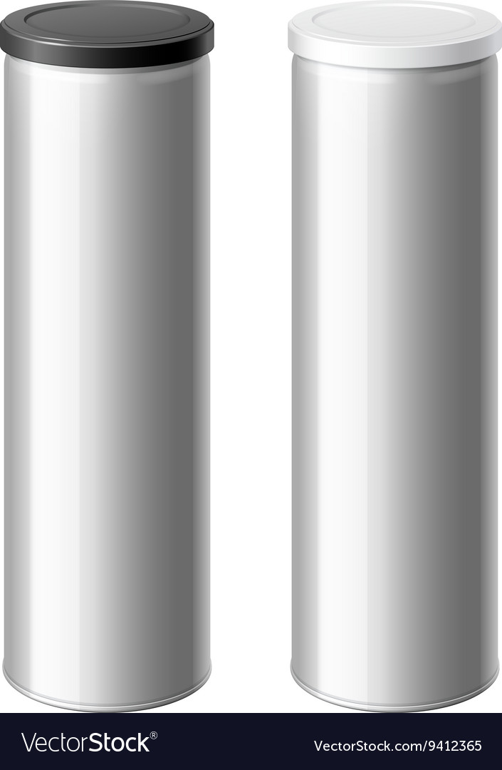 Metal can set with a black and white lid vector