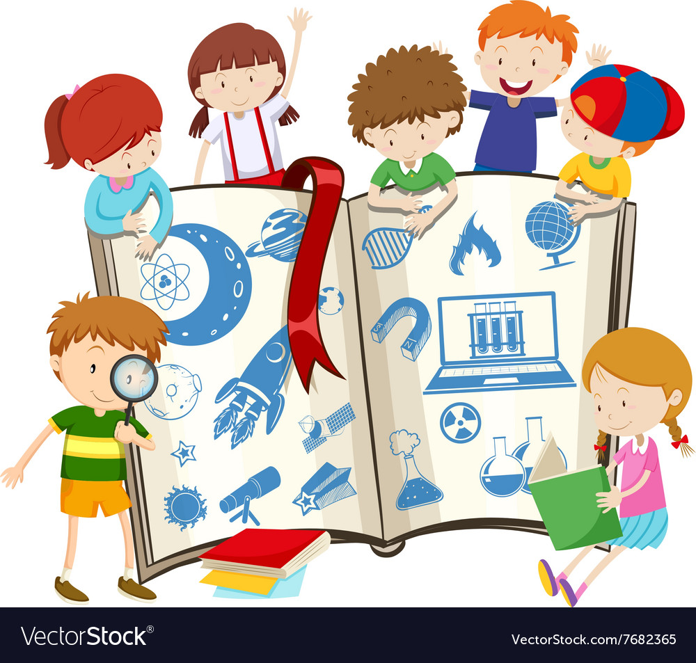 Science book and children vector