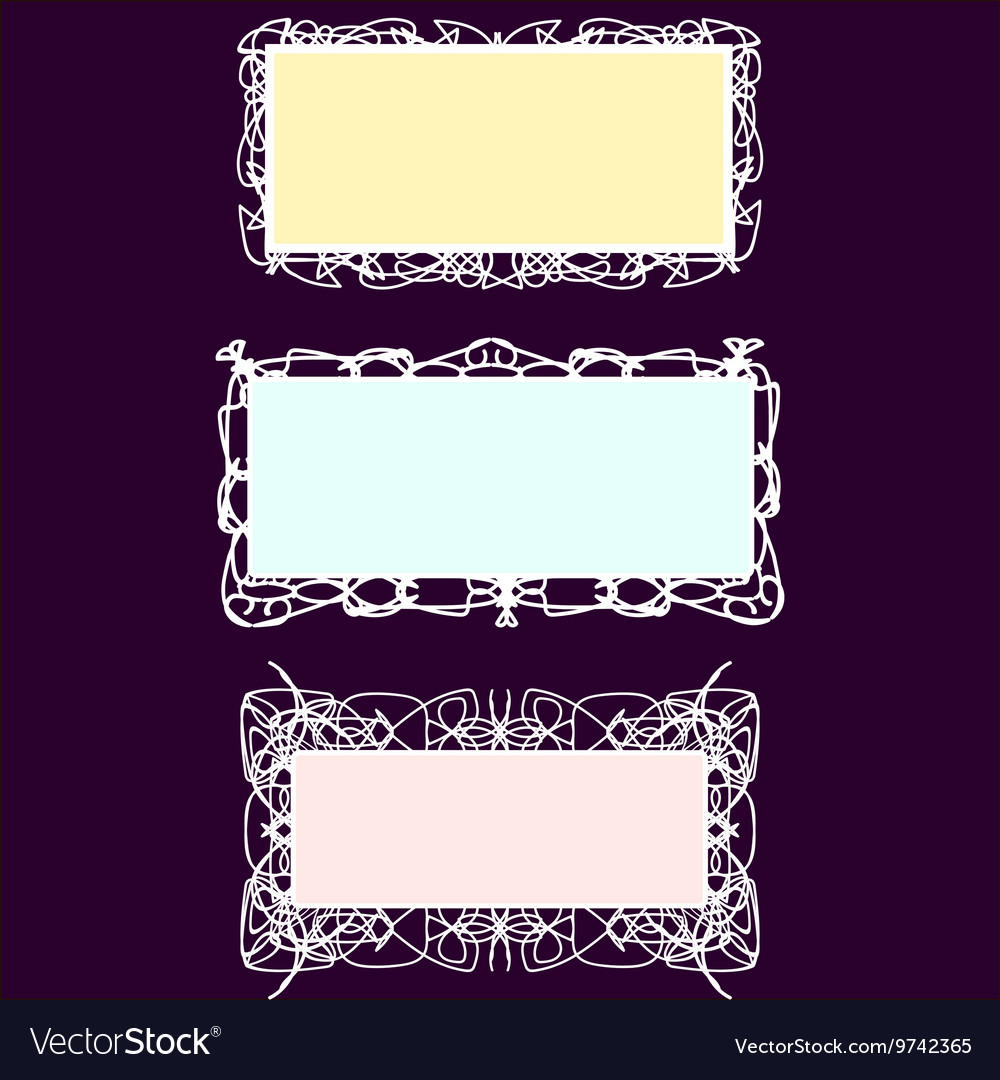 Set of rectangle vintage stylized frames vector