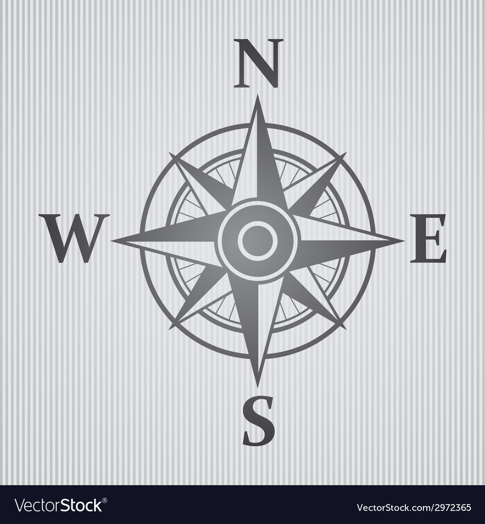 Wind rose gray vector