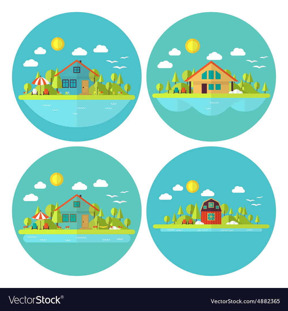 Wooden cabin holiday house landscape circle flat vector