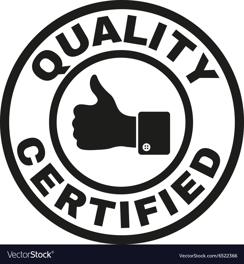 Certified quality and thumbs up icon vector