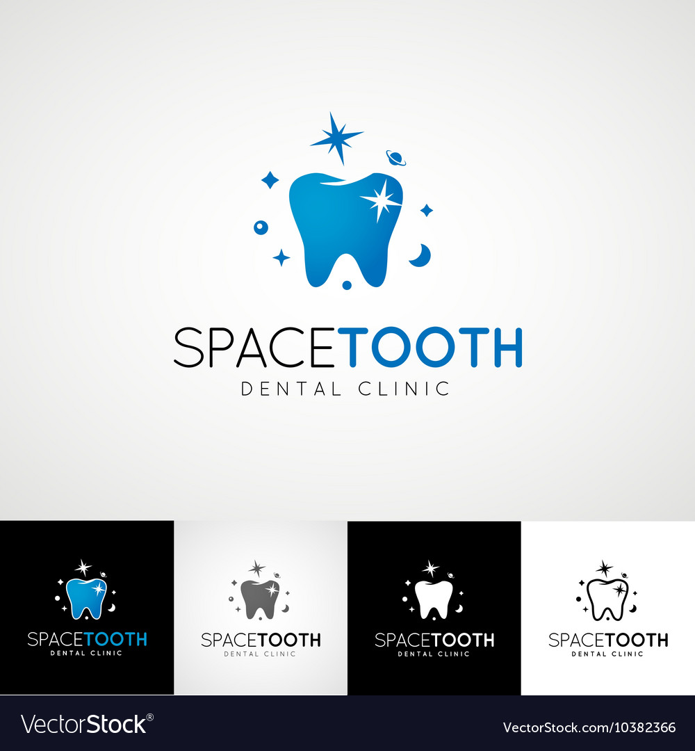 Dental logo template teethcare icon set dentist vector