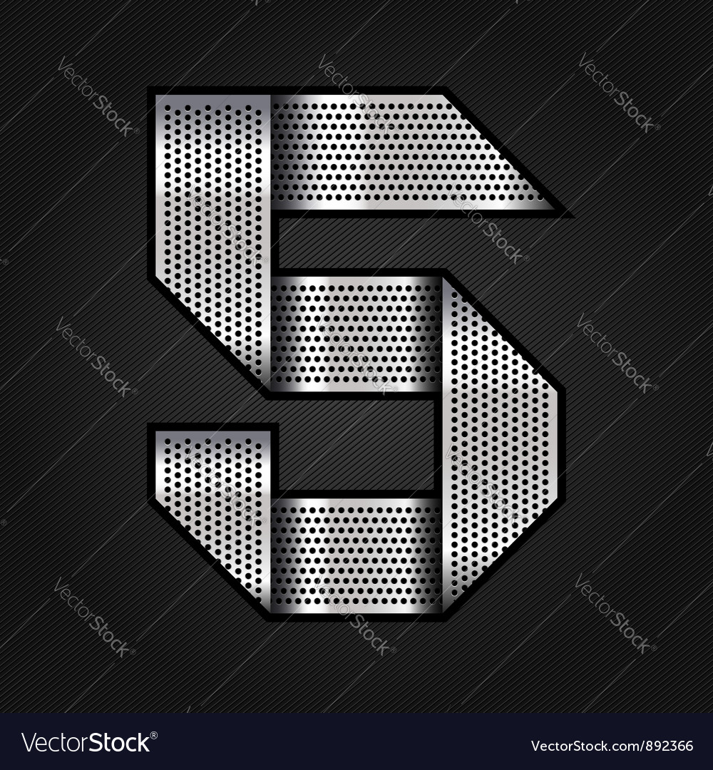 Number metal chrome ribbon  5  five vector