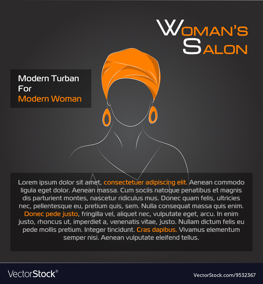 Arabic woman in orange turban on black vector